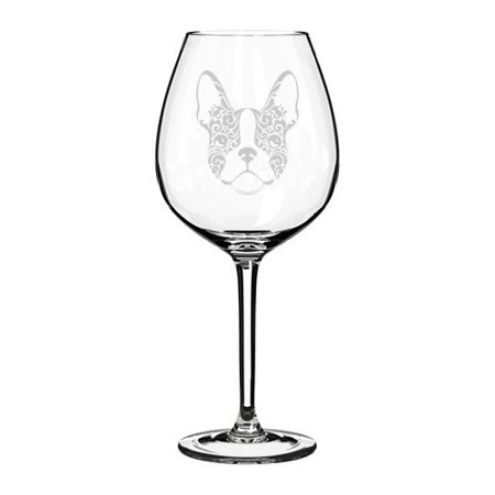 Floral Fusion Glass (Wine Glass Goblet Frenchie French Bulldog Face Floral (20 oz Jumbo))