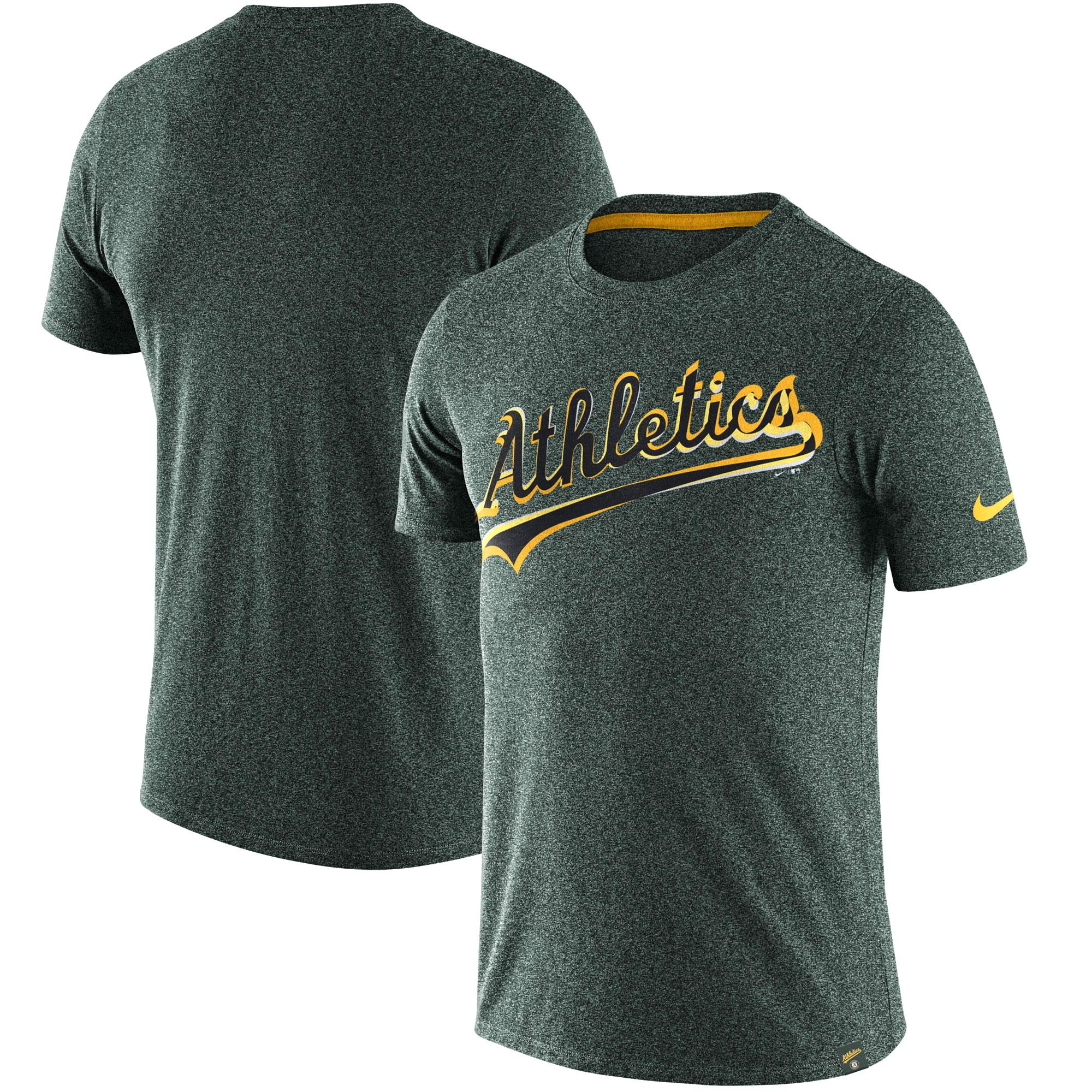 Oakland Athletics Nike Marled Wordmark T-Shirt - Heathered Green