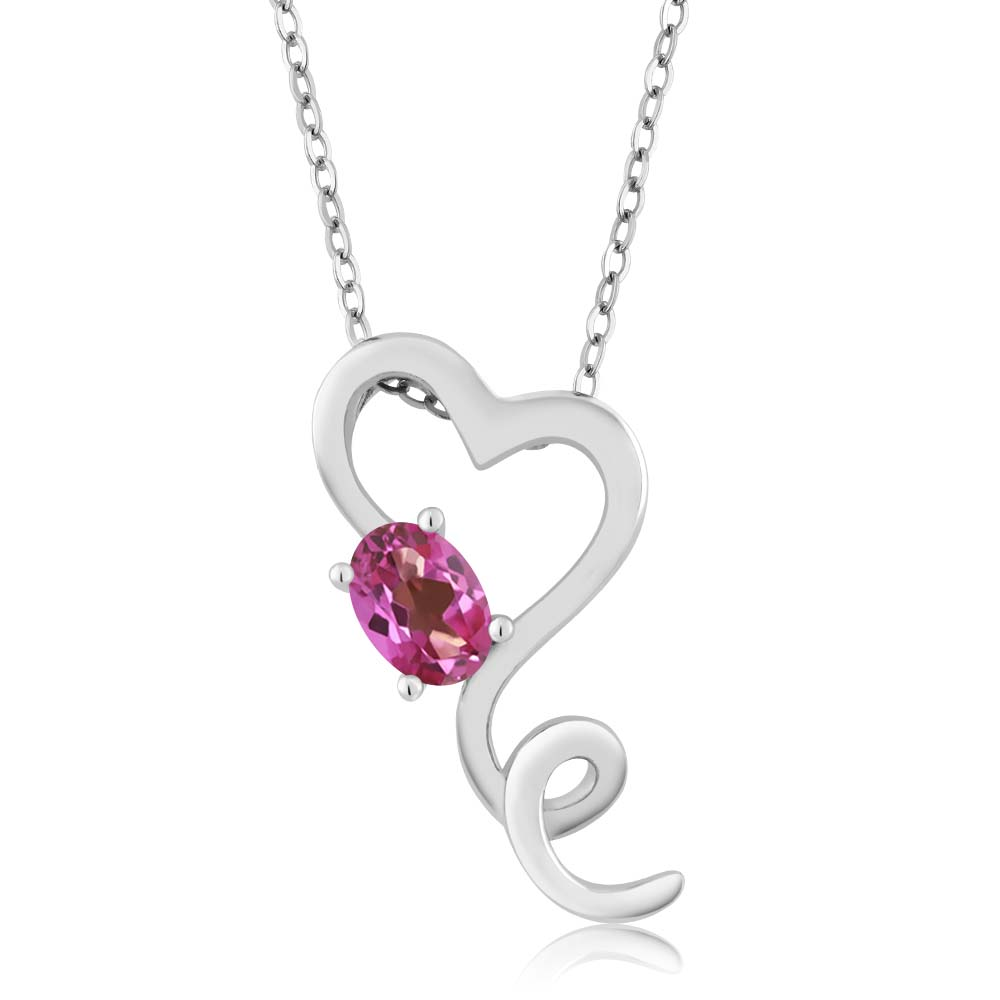 0.55 Ct Oval Pink Mystic Topaz 18k White Gold Pendant by