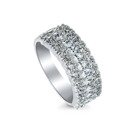 Rhodium Plated Sterling Silver Art Deco Half Eternity Ring Set with Swarovski Zirconia Size (Art Deco Style Platinum Ring)