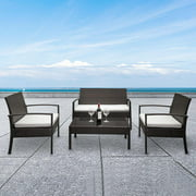 Zimtown PE Rattan 4PCS Conversation Sofa Set With Cushions for Patio Garden Yard