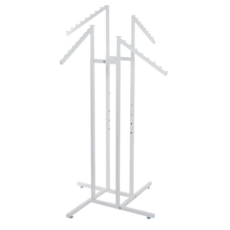 White 4-Way Clothing Rack with Slant Arms White 4-Way Clothing Rack with Slant Arms are good for fitting a lot of close into a small space.