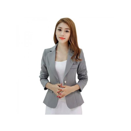 Black Contrast Trimmed Suit Jacket (Topumt Women One Button Slim Casual Business Blazer Suit Jacket Coat Outwear )
