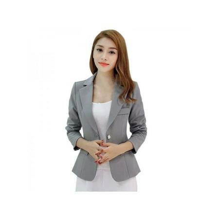 Topumt Women One Button Slim Casual Business Blazer Suit Jacket Coat Outwear (Womens Washable Business Suits)