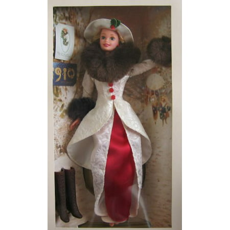 Barbie Year 1995 Hallmark Special Edition 12 Inch Doll - Holiday Memories Barbie with Red Satin Dress, Flocked Coat with