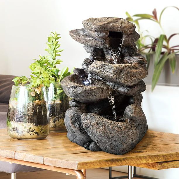 Indoor Outdoor Tabletop Rock Fountain, Small Outdoor Rock Fountains