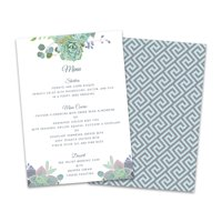 Personalized Succulents Wedding Menu Card