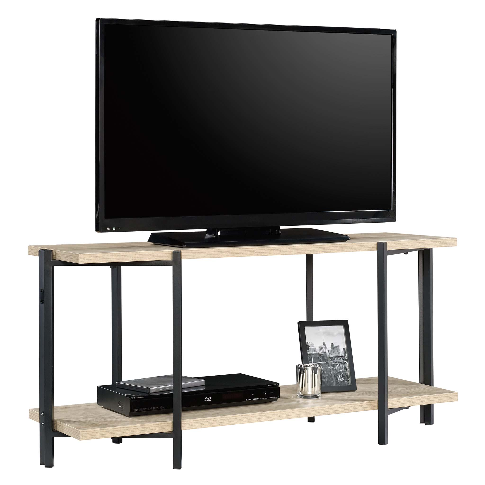 Mainstays No Tools TV Stand, Natural Wood Finish