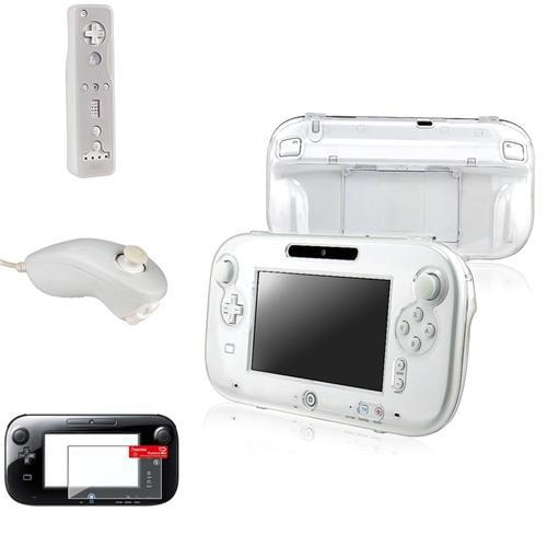 Insten Clear Crystal Hard+White Remote+Nunchuck Controller Case+Film For Nintendo Wii U