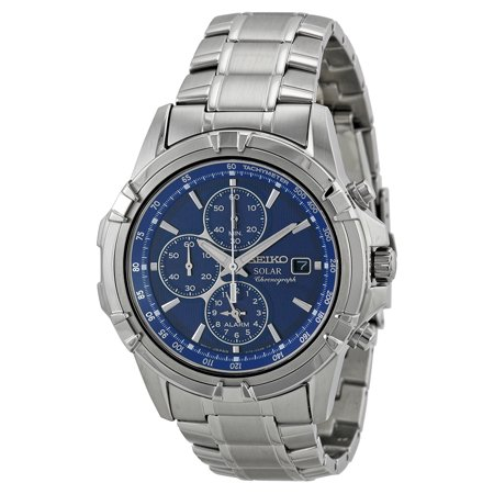 Seiko Men's Solar Blue Dial Chronograph Stainless Steel Watch SSC141 Seiko Mens Alarm Chronograph