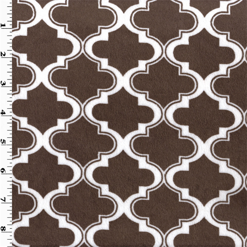 Brown/White Ogee Minky, Fabric By the Yard