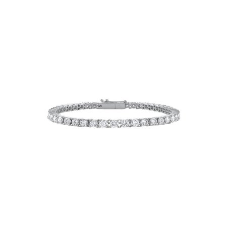 Cubic Zirconia Tennis Bracelet in 14K White Gold 3 CT TGW- April Birthstone Jewelry - image 2 of 2