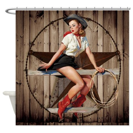 CafePress - Cute Western Cowgirl Pin Up Girl - Unique Cloth Shower Curtain - Cowgirl Cloths