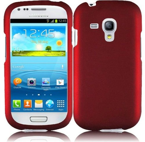 Hard Rubberized Case for Samsung Galaxy S3 Mini i8190 - Red