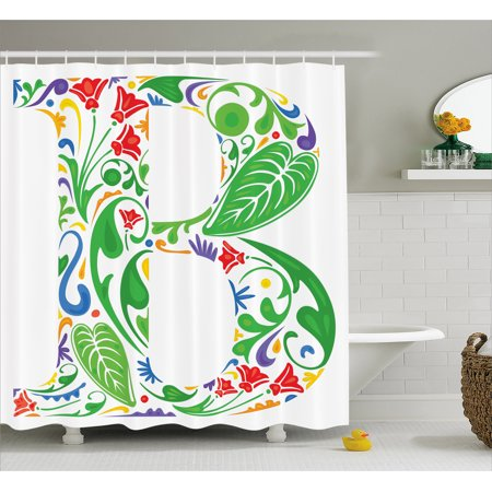 Letter B Shower Curtain  Capital With Spring Herbs Flowers Petals Leaves Nature Harvest Swirls Vivid Image  Fabric Bathroom Set With Hooks  69W X 75L Inches Long  Multicolor  By Ambesonne