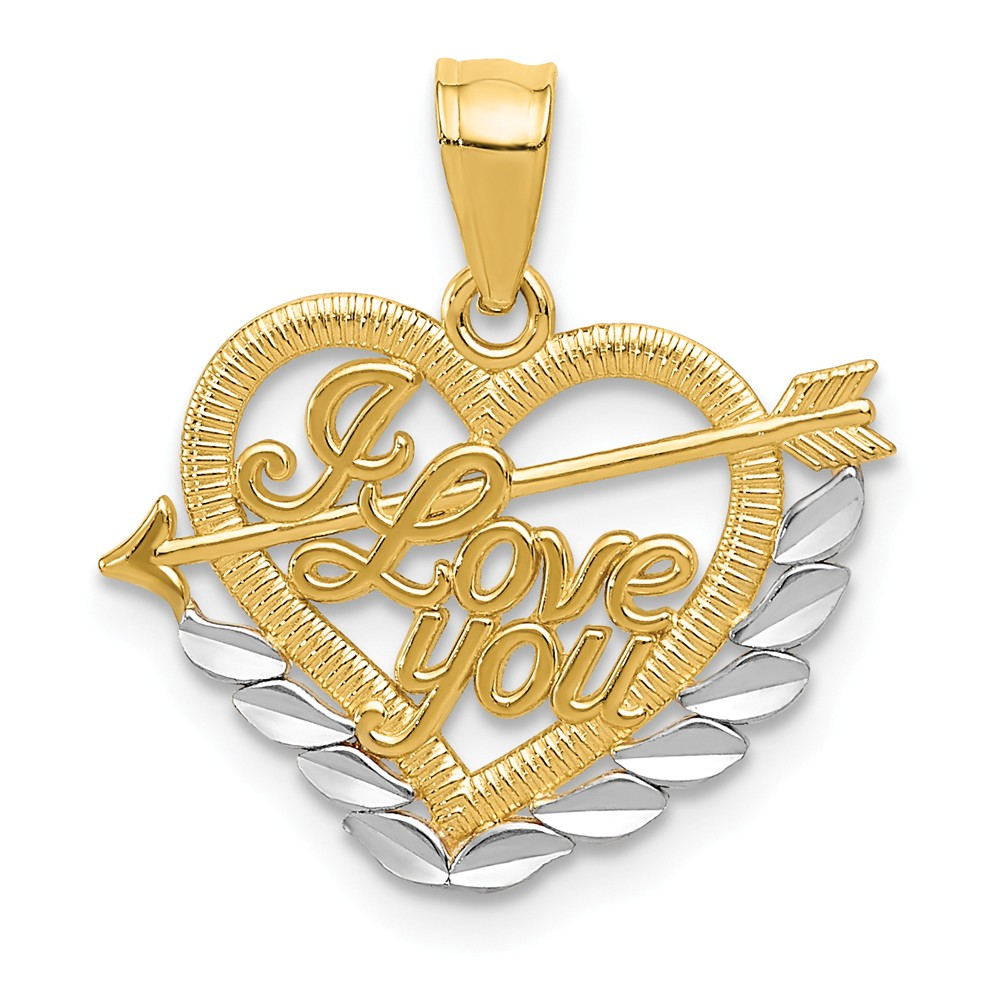 14K Yellow Gold and Rhodium I Love You Heart Pendant
