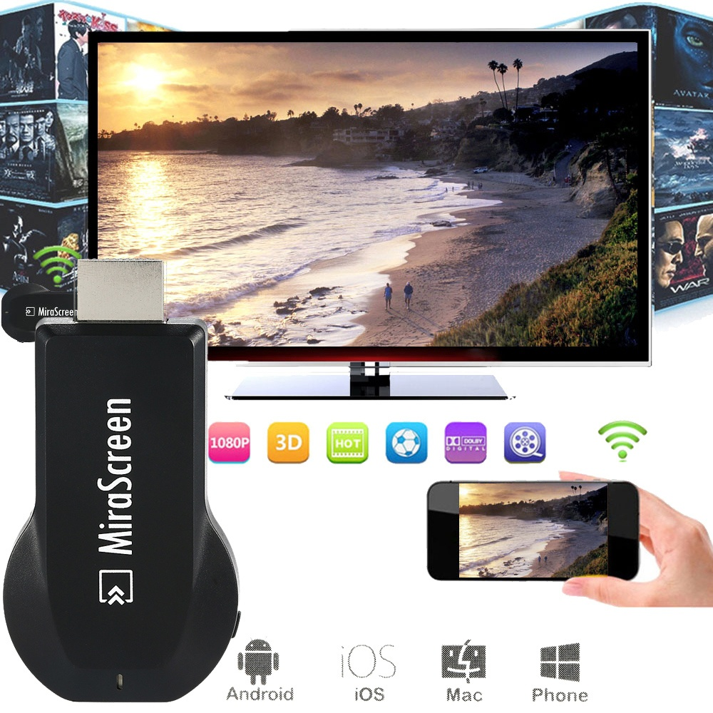 2.4G Wifi Wireless Display Dongle Receiver Adapter MiraScreen Miracast 1080P Air Play DLNA HDTV Media Streamer HD WIFI Connector TV Dongle DLNA For Android Phone PC