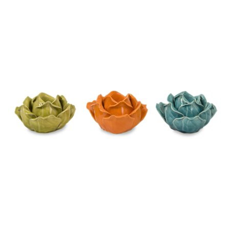 Set of 3 Assorted Colors Ceramic Flower Candle Holders in Gift Box 5
