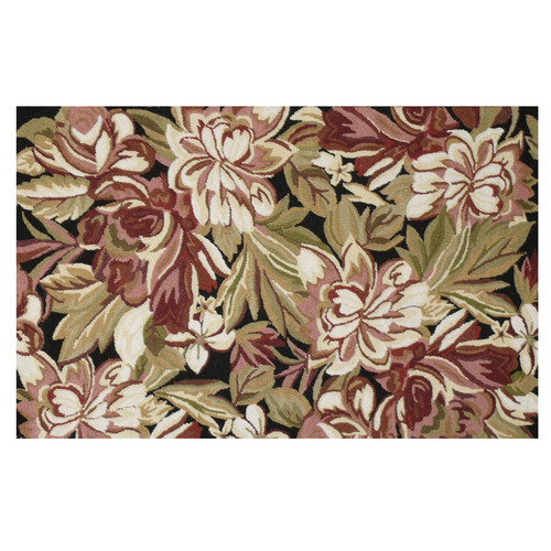 123 Creations Floral Hook Brown Magnolia Area Rug