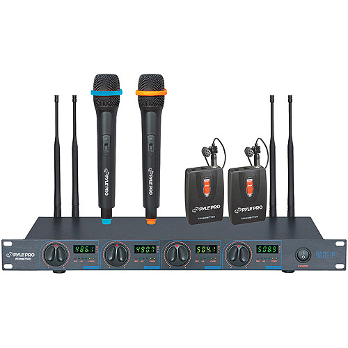 PylePro PDWM7300 UHF 4-Channel Wireless Microphone System with 2 Handheld and 2 Lavaliere Microphones by Pyle