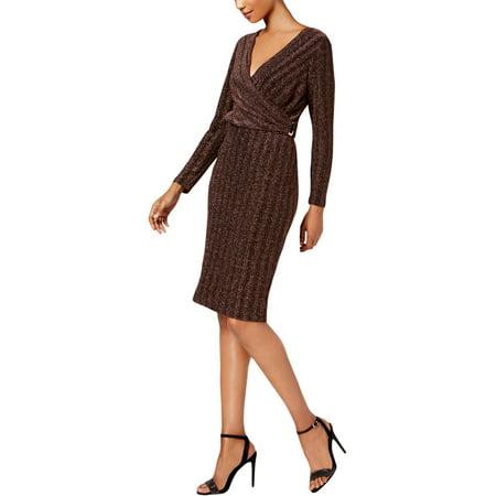 Sangria Women's Petite Faux-Wrap Metallic Dress (8P, Rose Gold)](Rose Sangria)