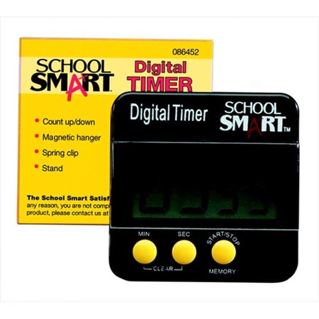 School Smart 086452 Big Digit Count Up & Count Down Timer, Large Lcd, 1 Aaa Battery, 2-1 & 2 x 2-1 & 2 In, - School Timers