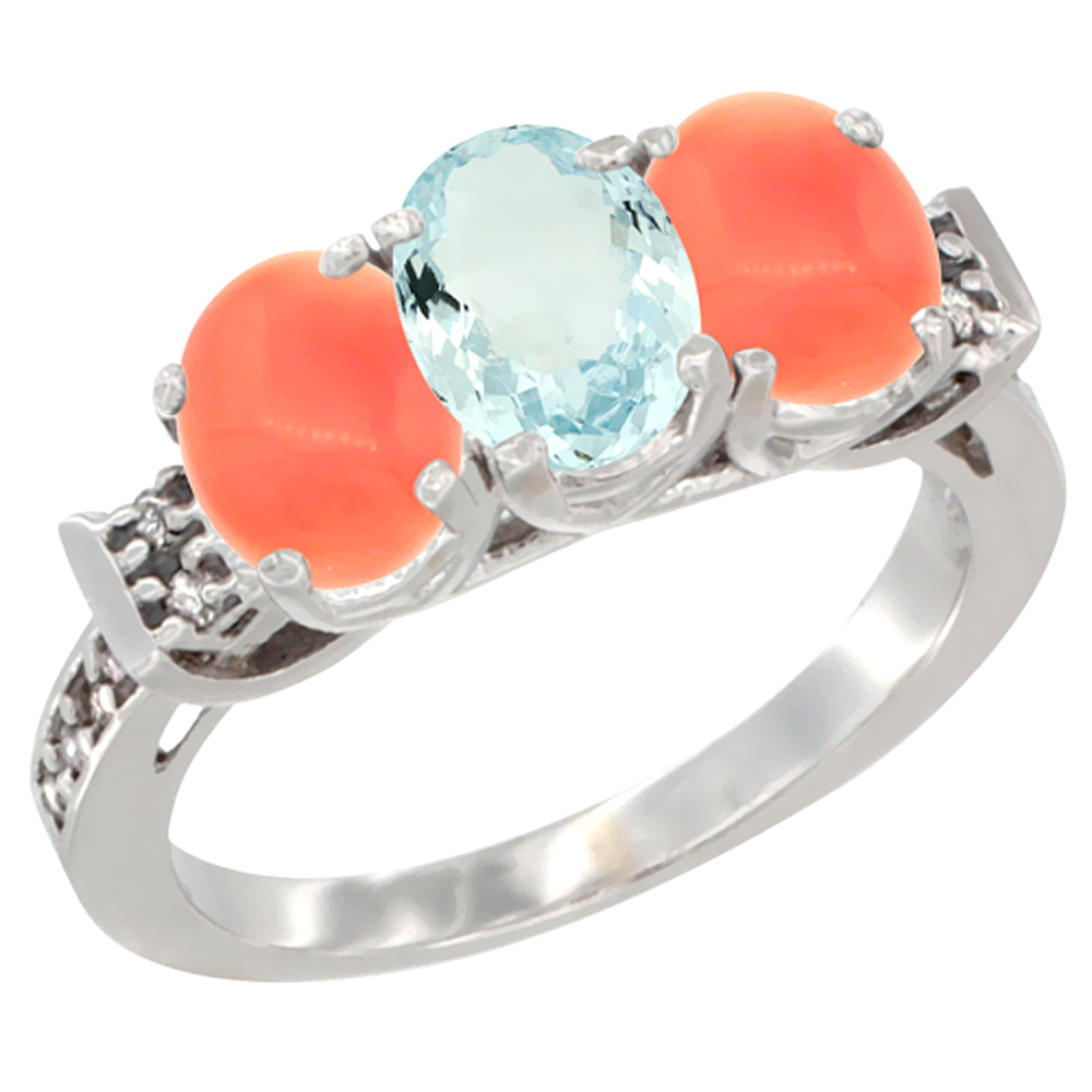 14K White Gold Natural Aquamarine & Coral Ring 3-Stone 7x5 mm Oval Diamond Accent, sizes 5 - 10
