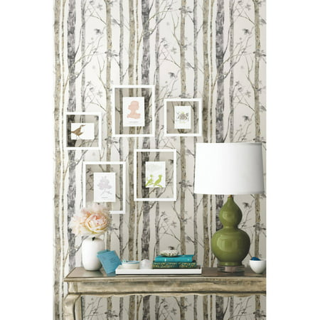 Roommates birch trees peel and stick wall d cor wallpaper for Peel and stick wallpaper walmart