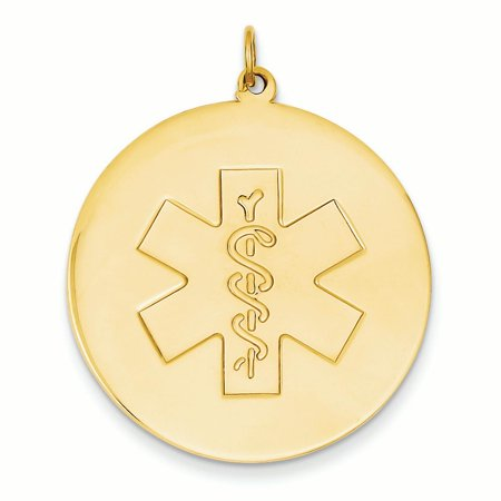14K Yellow Gold 31.8 MM Non-Enameled Medical Alert Charm Pendant - Medici Gold Finish