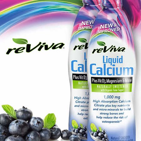 reViva Liquid Calcium, 64 Ounces, BlueBerry (2 Bottles, 32 Ounces (Liquid Calcium)