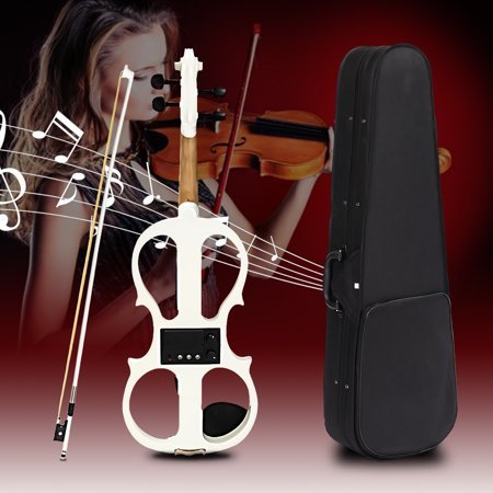 On Clearance 4/4 Electric Violin Full Size Wood Silent Fiddle Stringed Musical Instrument Bow Headphone
