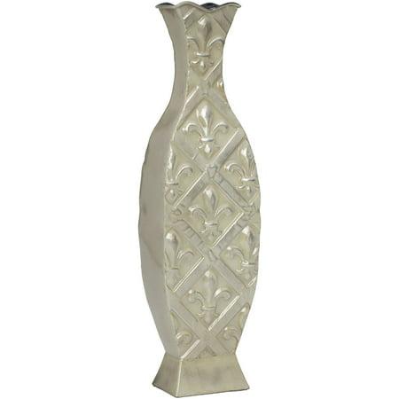 elements 17 inch embossed metal ivory fleur de lis vase. Black Bedroom Furniture Sets. Home Design Ideas