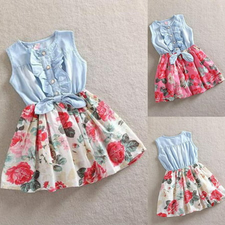Sweet Baby Girls Kids Flower Dress Denim Vest Tulle Party Skirt Toddler Clothes 1-7Years