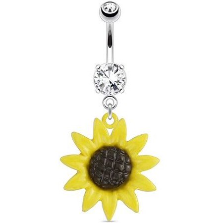 Belly Button Ring 316L Surgical Steel Metal Sunflower 316L Surgical Steel Navel](Halloween Belly Button Rings)