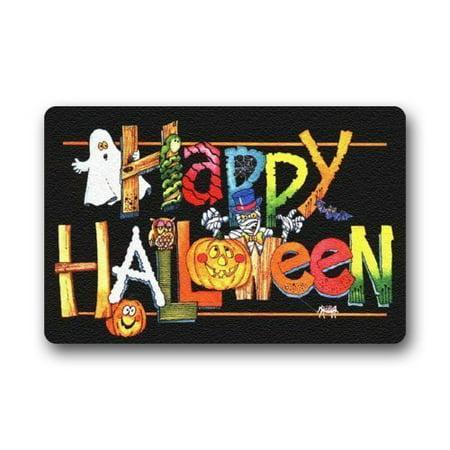 Halloween Doormat Outdoor Decor (WinHome Halloween Doormat Floor Mats Rugs Outdoors/Indoor Doormat Size 23.6x15.7)