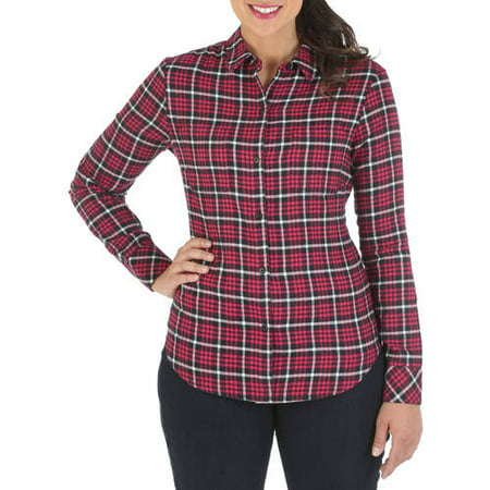 riders by lee womens soft flannel plaid shirt