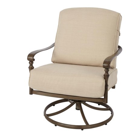 Hampton Bay 171 410 Srl1 Cavo Swivel Rocking Metal Outdoor Lounge Chair With Oatmeal Cushion