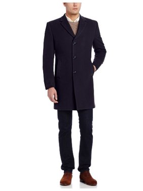 Tommy Hilfiger Men's Barnes 38 Inch Single Breasted Cashmere Blend Coat, Navy, 42 Large