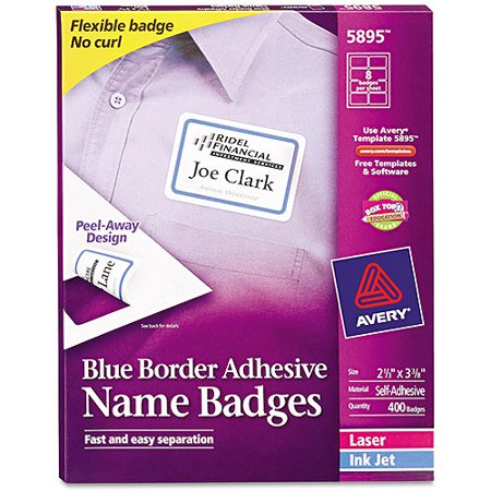 Avery Flexible Self-Adhesive Laser/Inkjet Name Badge Labels, 2 1/3 x 3 3/8, BE, 400/BX