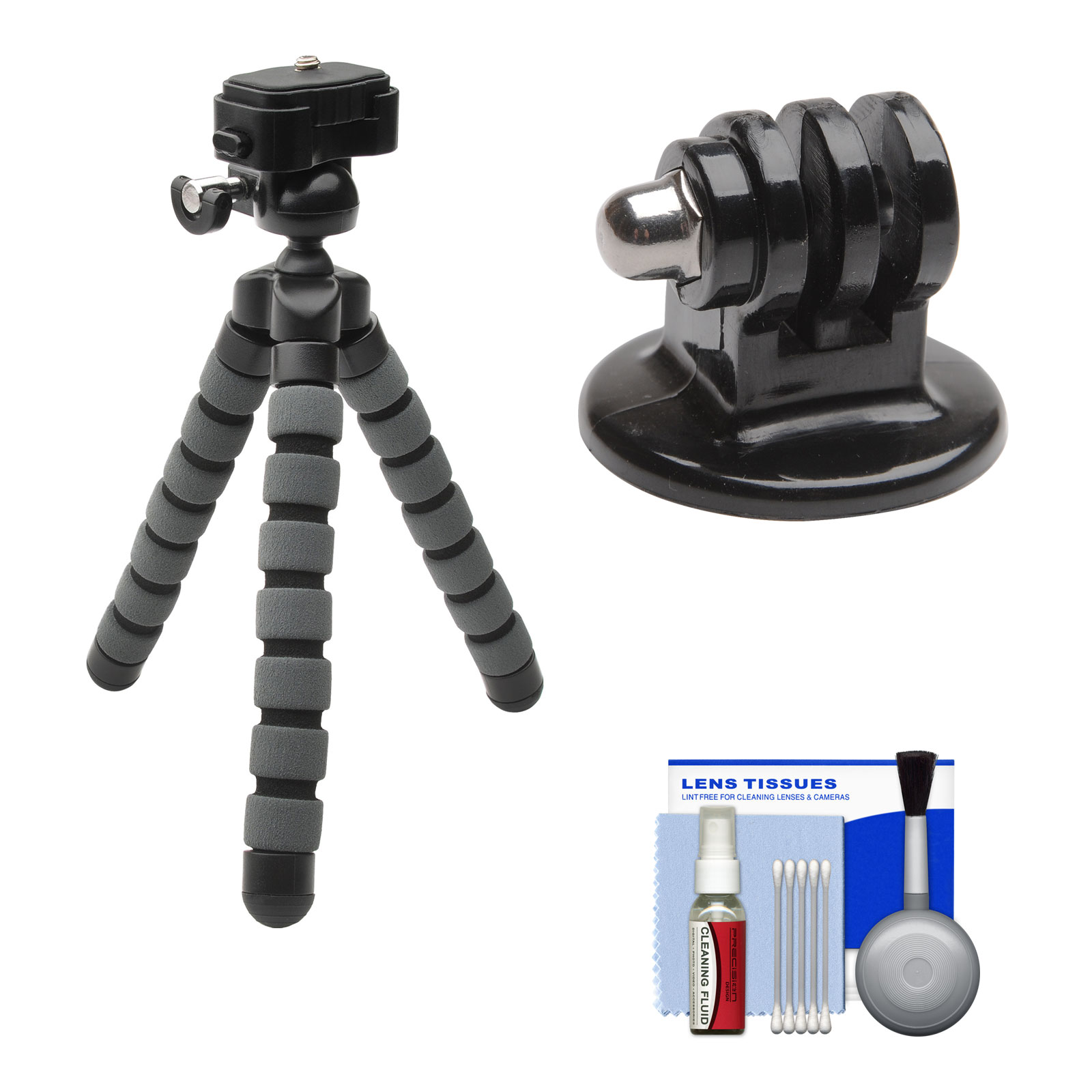 Precision Design PD-T14 Flexible Compact Camera Mini Tripod with Adapter + Cleaning Kit for Original HD HERO, HD HERO2, HERO3, HERO3+, HERO4 Cameras