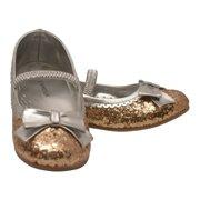Girls Gold Glitter Patent Bow Scalloped Trim Dress Shoes 11-2 Kids