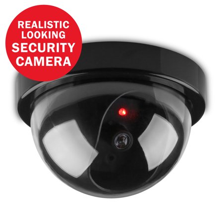 SANNCE Dome Dummy Fake Surveillance Security CCTV Dome Camera for Indoor Outdoor with 1 Flashing LED Light(Black)
