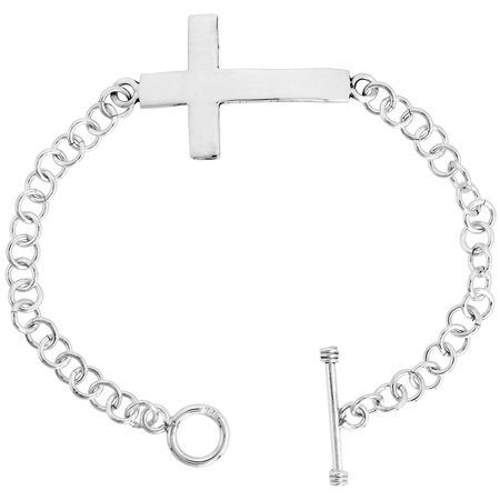 Sterling Silver Sideways Cross Bracelet for Women Round Links Toggle Clasp Handmade 7.5 inch Toggle Clasp Bracelet