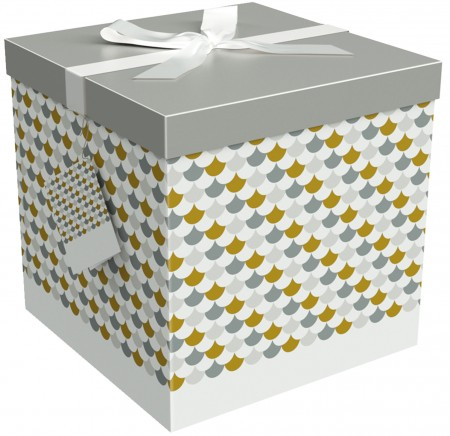 Gift Box 12x12x12 Sienna Collection - Easy to Assemble & Reusable - No Glue Required - Ribbon, Tissue Paper, and Gift Tag Included - EZ Gift Box by Endless Art US