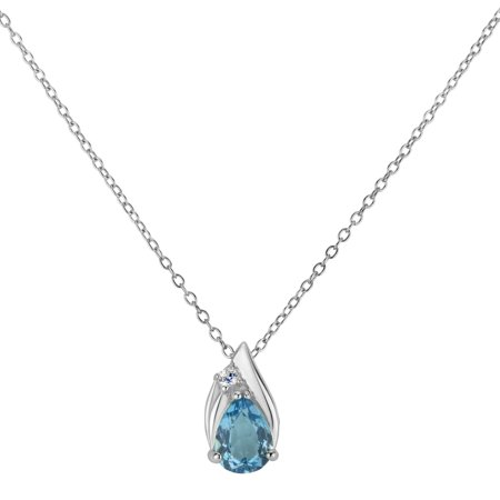 Sterling Silver Rhodium Plated Baby Blue Topaz And Created White Sapphire Pearshaped Pendant Necklace 18 Inches (Baby Blue Topaz Pendant)