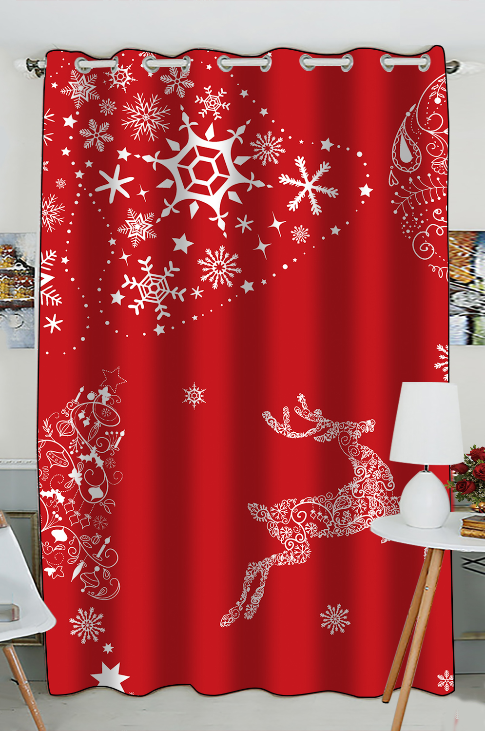 Gckg Christmas Window Curtain Xmas Merry Christmas Reindeer Red Grommet Blackout Curtain Room Darkening Curtains For Bedroom And Kitchen Size 52 W X 84 H Inches One Piece Walmart Com Walmart Com