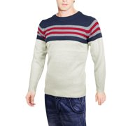 Azzuro Men's Round Neck Pullover Long Sleeve Stripes Decor Sweater Multicolor (Size S / 34)