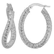 Fremada  10k White Gold Diamond-cut Twisted Oval Hoop Earrings