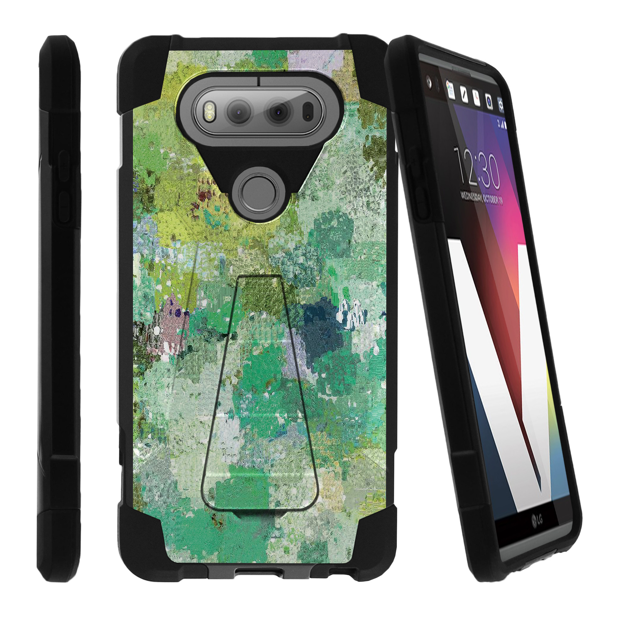 LG V20 SHOCK FUSION Heavy Duty Dual Layer Shock Impact Resistant Case with Built In Kickstand and Exclusive Designs - Enveloping Green