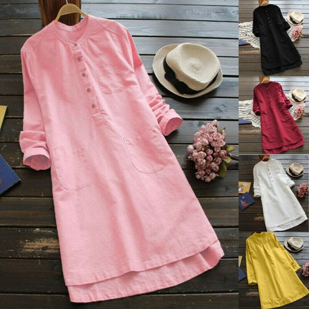 Womens Cotton Linen Maxi Dress Long Sleeve Casual Boho Kaftan Tunic Gypsy (Sleeve Kaftan)